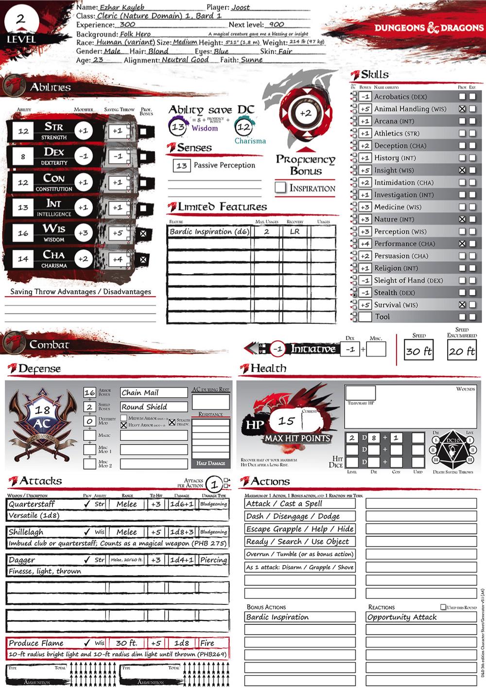 215 D&D 5E Character Sheets!