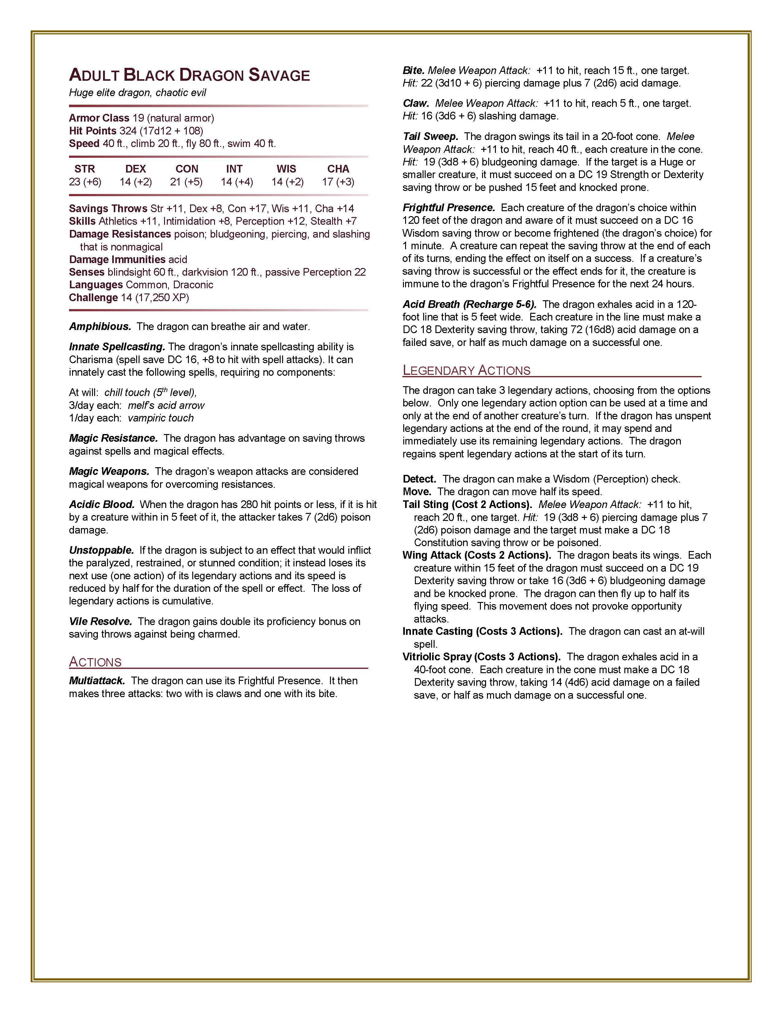 Homebrew 5e Hardcore: Monster Manual
