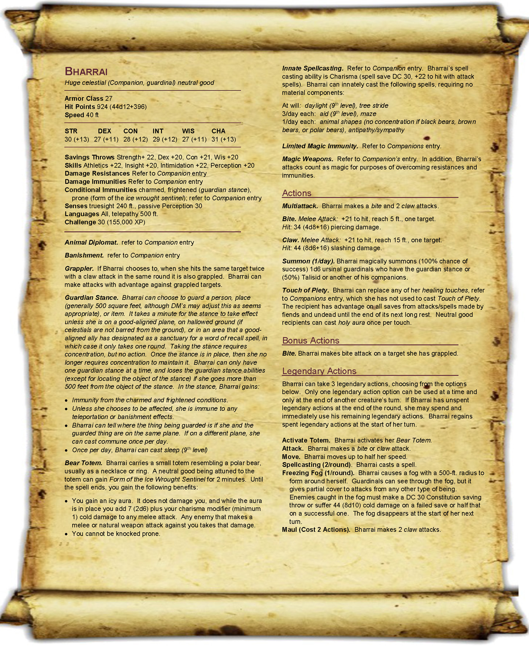 Homebrew 5e Epic Monster Updates