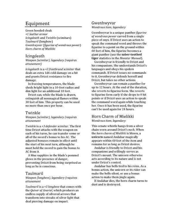 Check Out DRIZZT DO'URDEN'S 5E Character Sheet! | Morrus