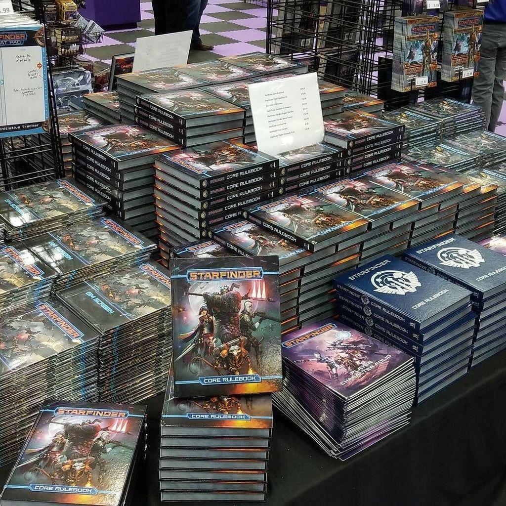 Starfinder books at Paizo stand
