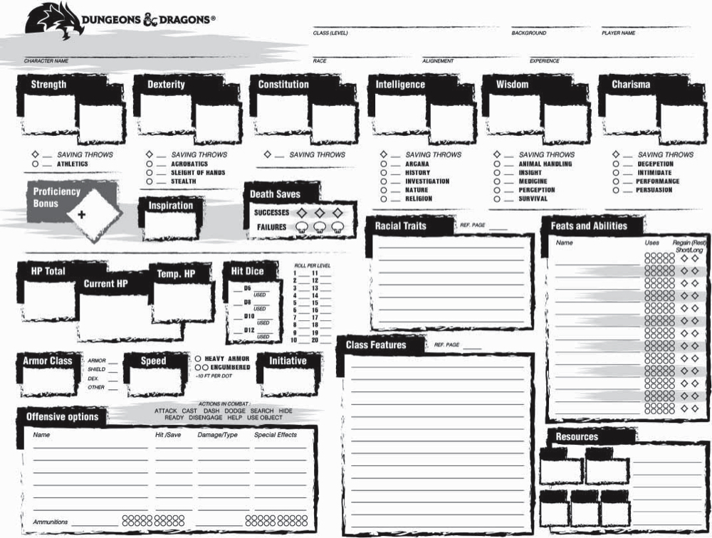 215 D&D 5E Character Sheets! | Morrus' Unofficial Tabletop