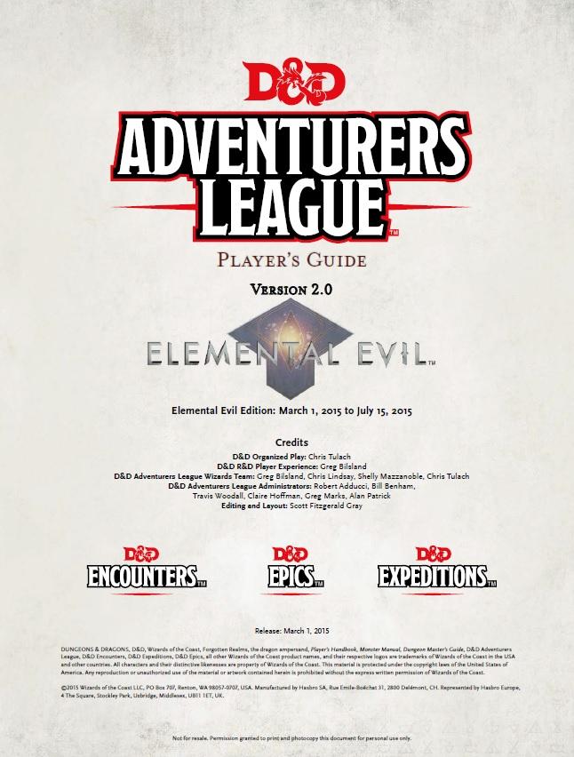 D Amp D Adventurer S League Elemental Evil Player S Guide