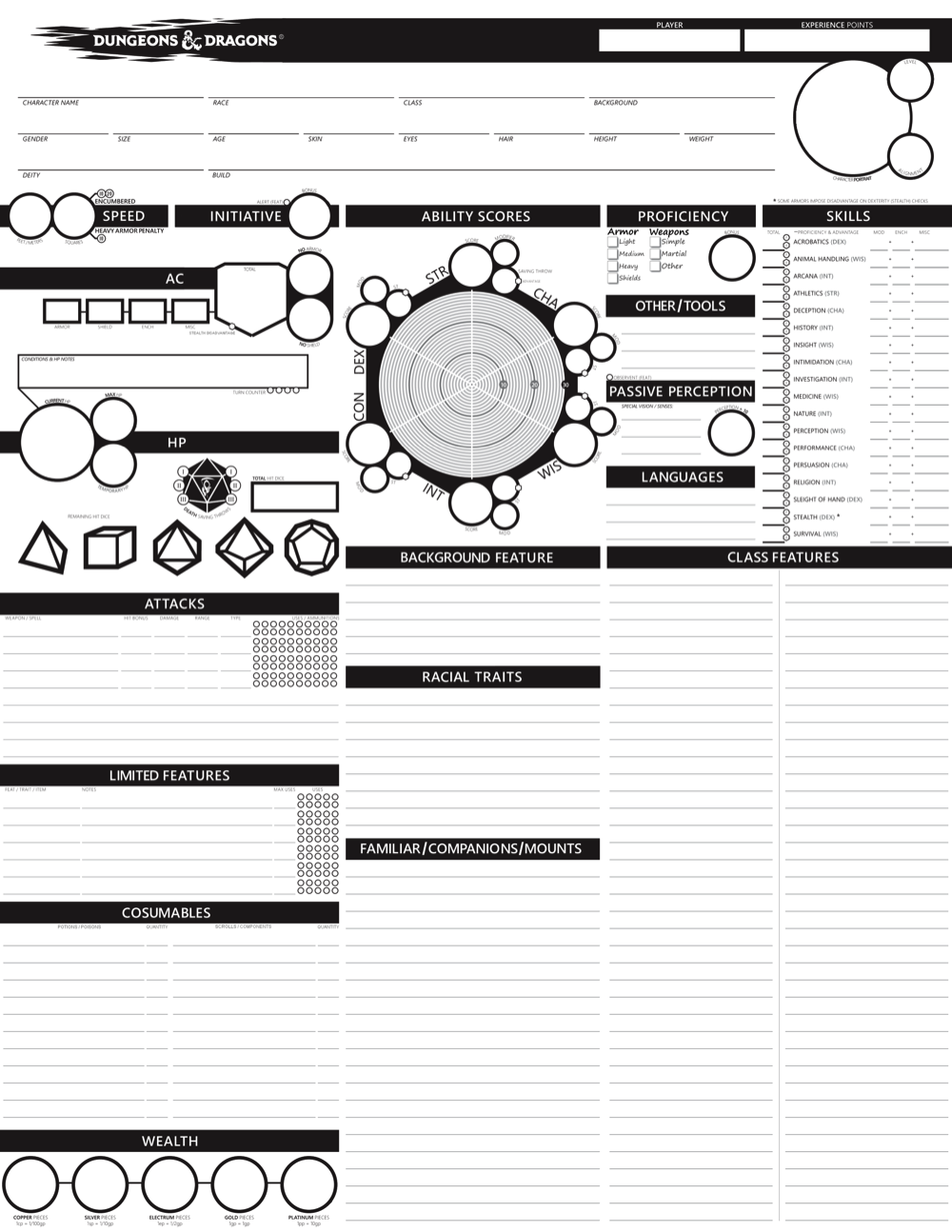graphic relating to Dnd 5e Printable Character Sheet titled 215 DD 5E Temperament Sheets! Morrus Unofficial Tabletop