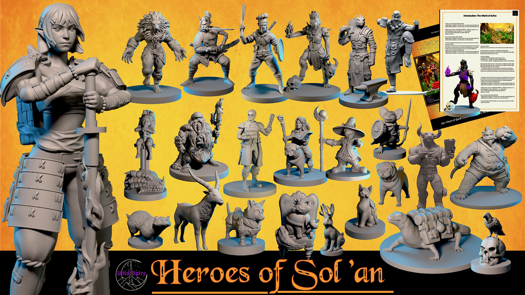 Multi-race Hero & Animal Miniatures, Campaign Setting, & STL.png