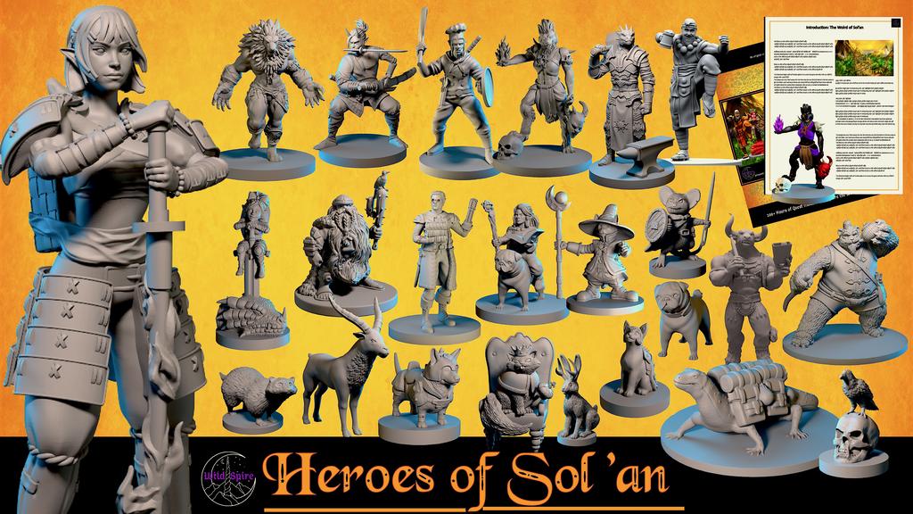 Multi-race Hero & Animal Miniatures, Campaign Setting, & STL.png