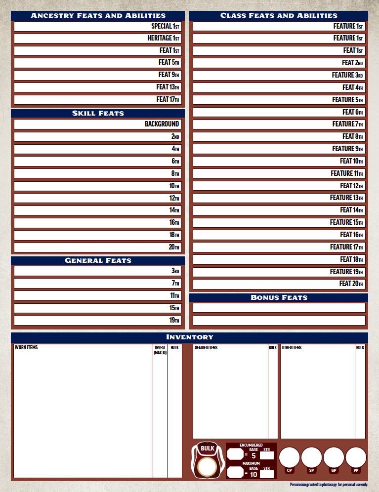 picture regarding Pathfinder Character Sheets Printable called Heres The Formal Pathfinder 2E Identity Sheet Morrus