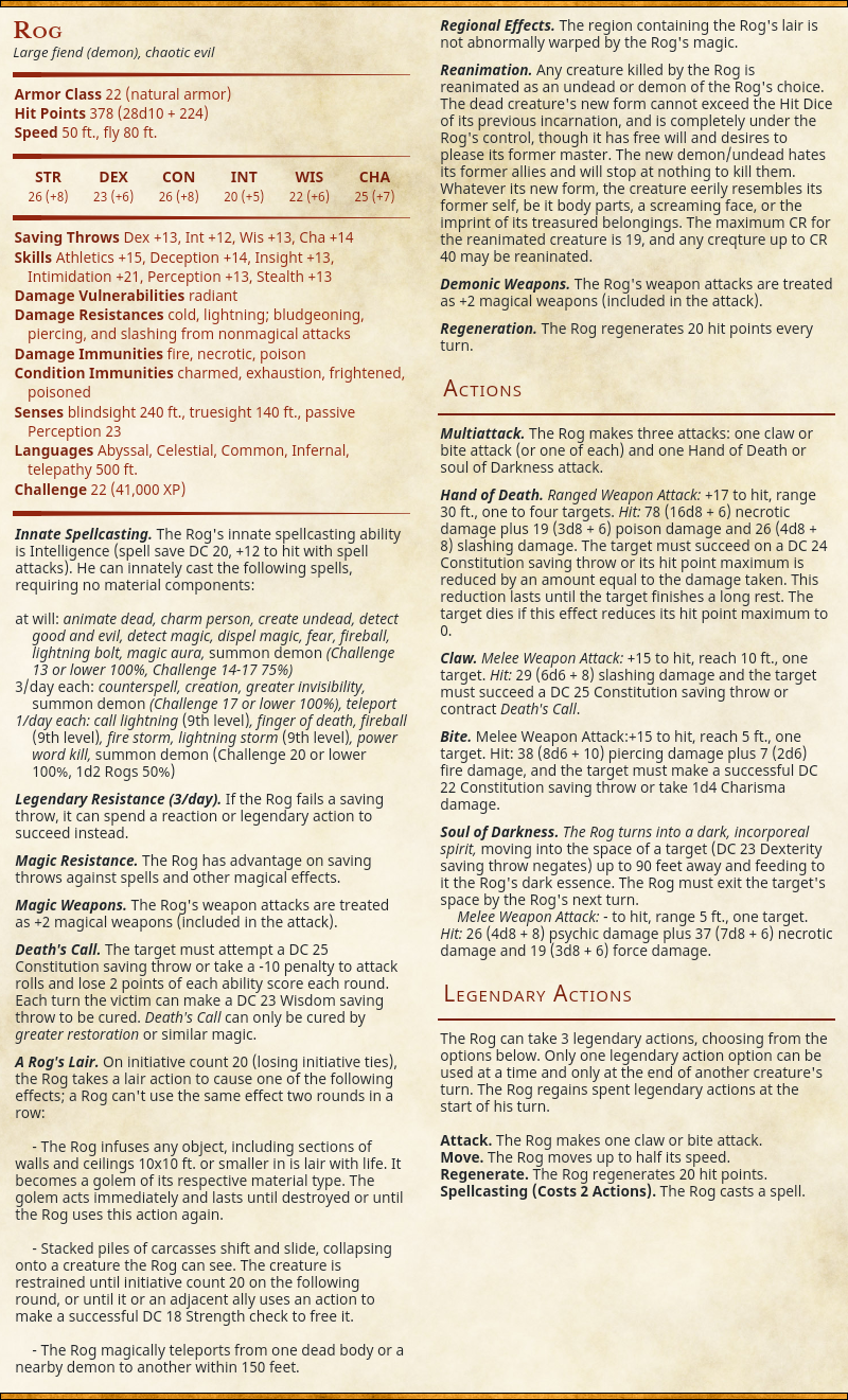 D D 5e 5e Epic Monster Updates Page 65 Morrus Dungeons Dragons Ttrpg News Reduce loops into an array storing an accumulator. d d 5e 5e epic monster updates page