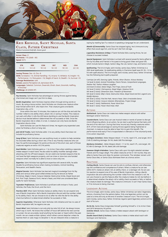 5 Versions of Santa Claus: D&D 5E Style | Morrus' Unofficial