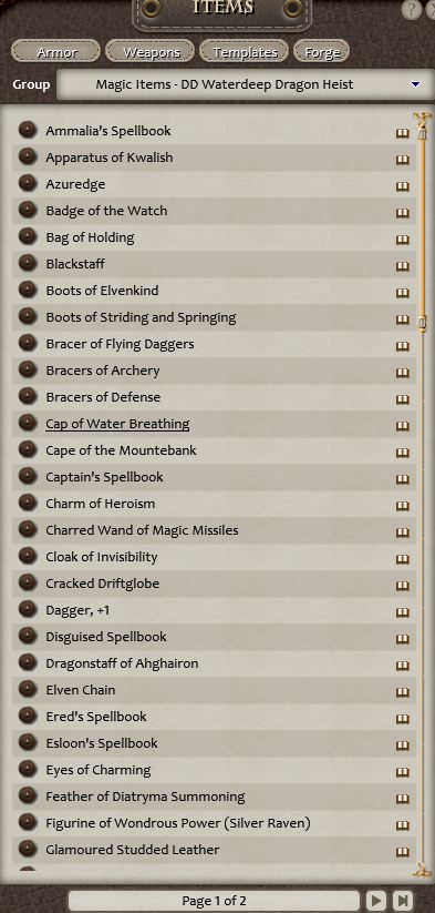 List of magic items in Waterdeep: Dragon Heist