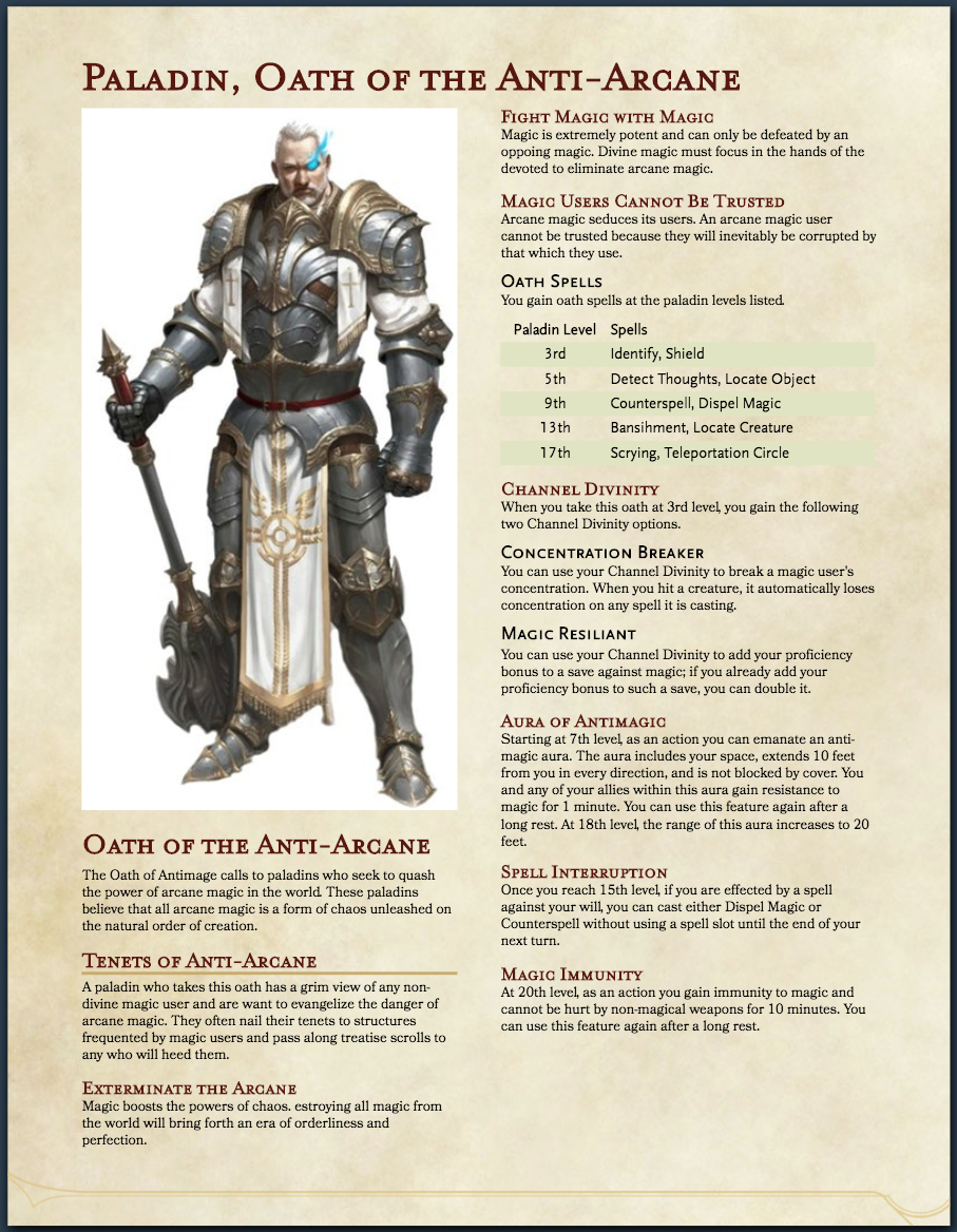 5E - Paladin, Oath of the Anti-Arcane | Page 2 | Morrus
