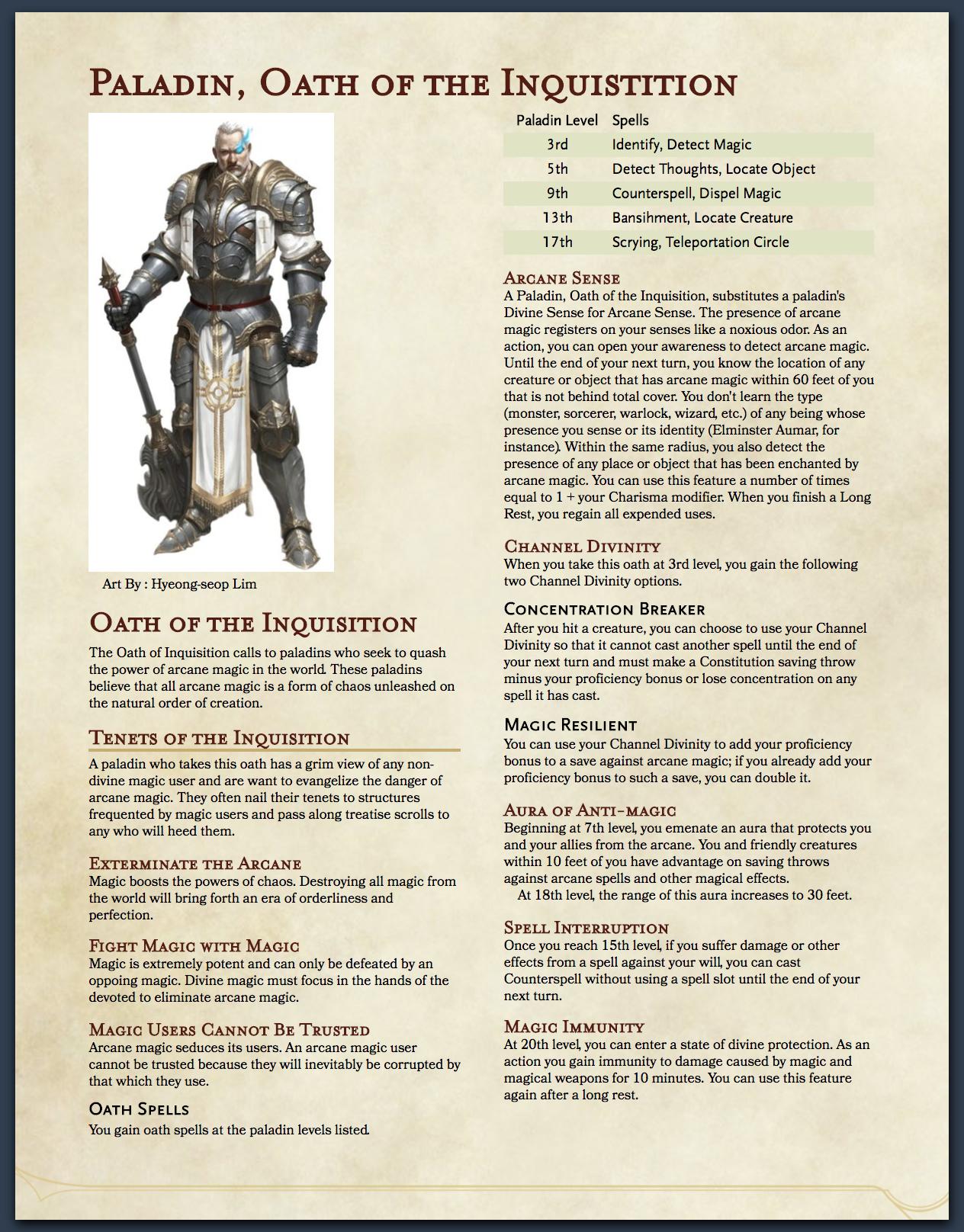 5E Paladin, Oath of the Anti-Arcane - Page 3