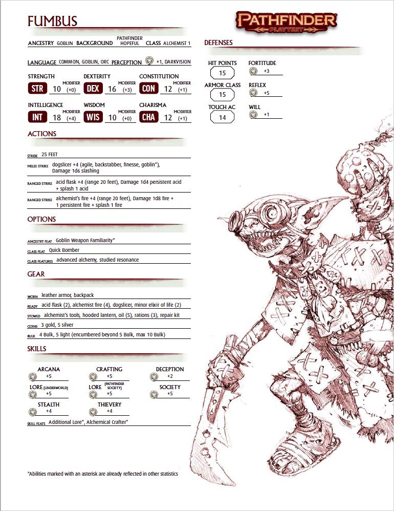 Pathfinder 2 Character Sheet #1: Fumbus, Goblin Alchemist