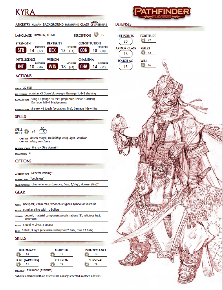 photograph about Pathfinder Character Sheets Printable named Pathfinder 2 Persona Sheet #2: Kyra, Human Cleric Morrus