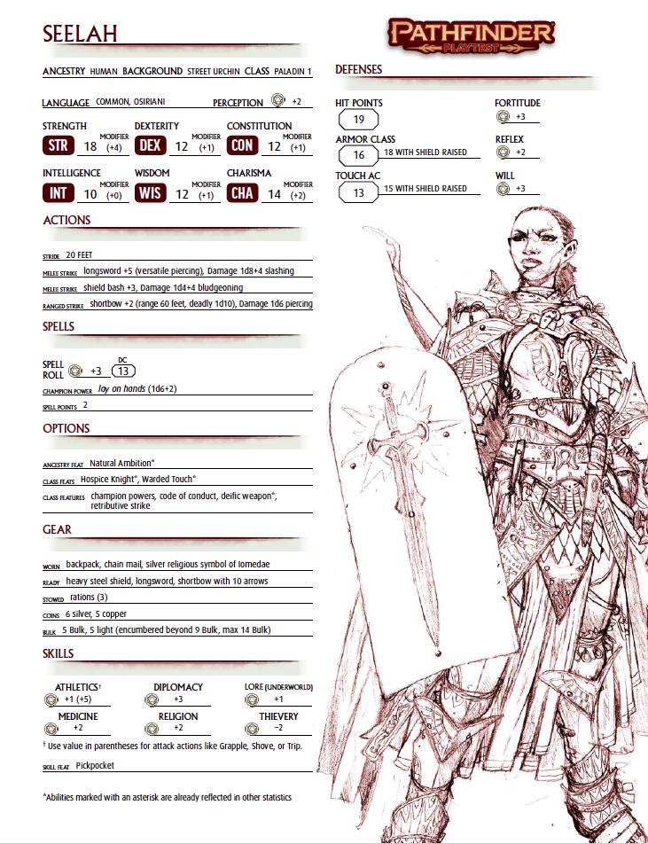 Pathfinder 2 Character Sheet #4: Seelah, Human Paladin