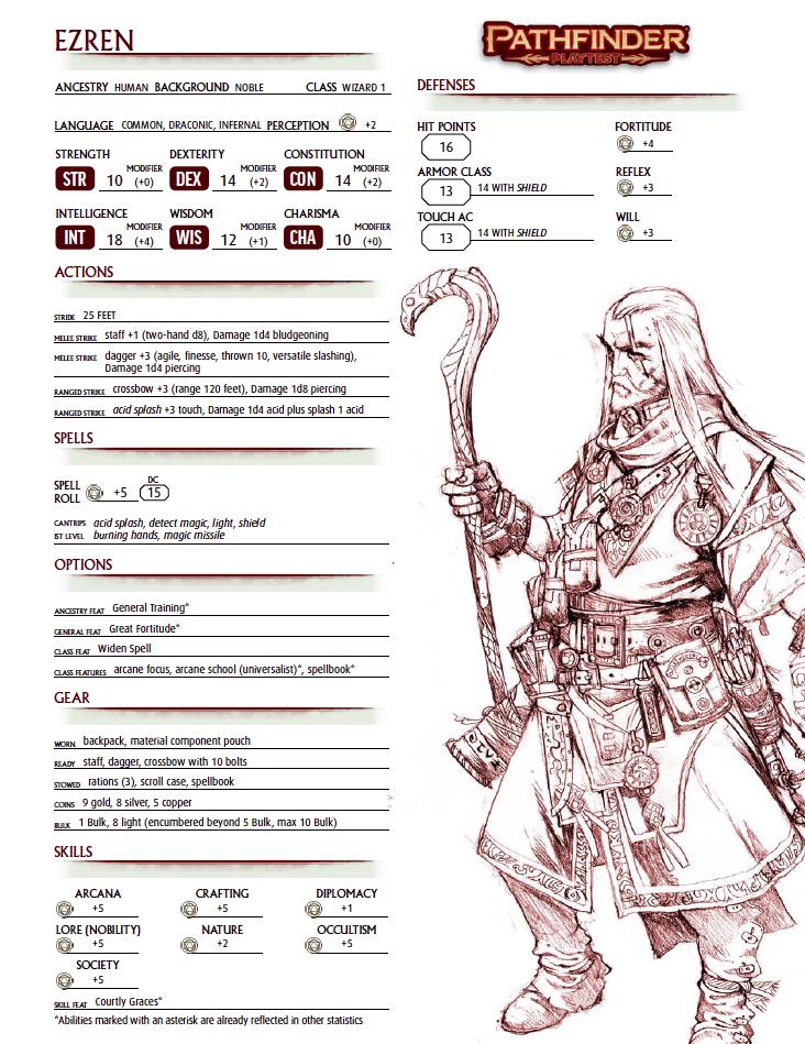 Pathfinder 2 Character Sheet #6: Ezren, Human Wizard