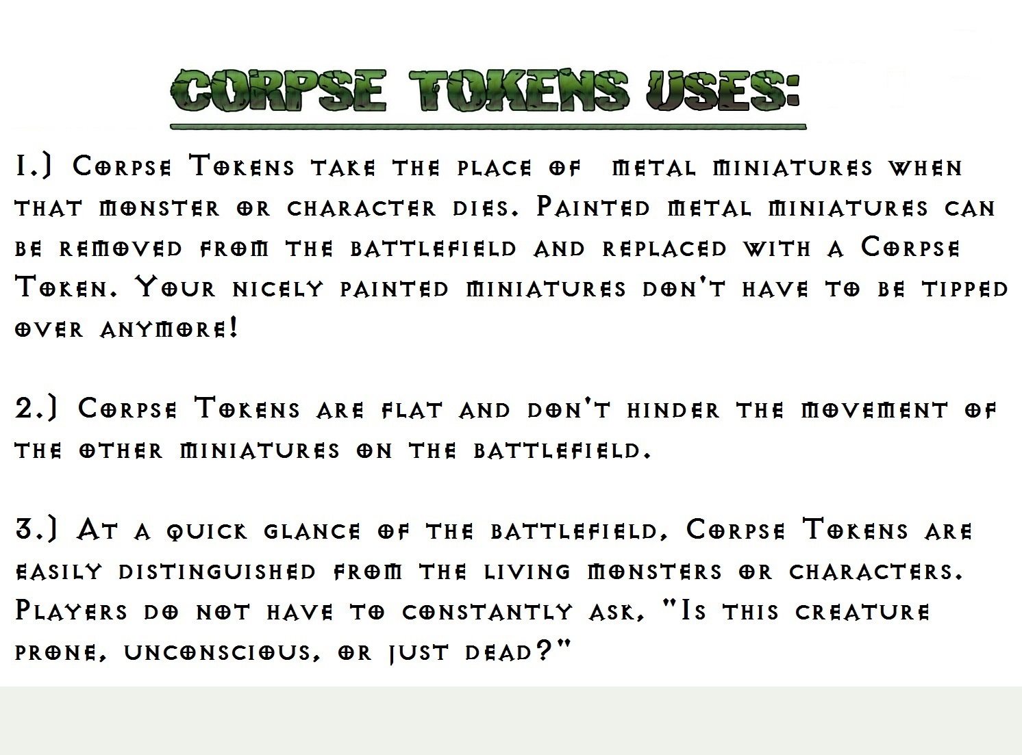 NEW RPG Game Accessory - CORPSE TOKENS