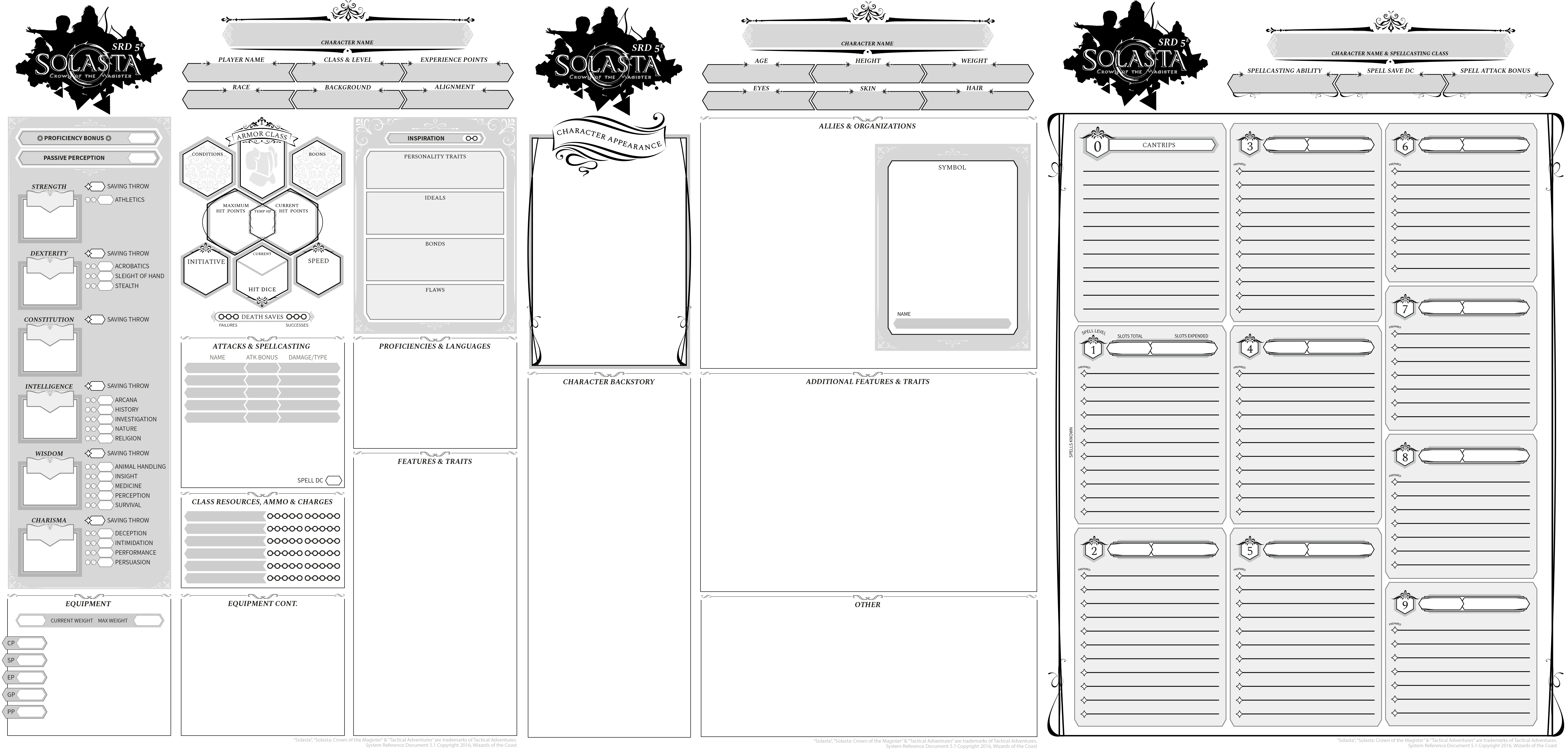5E Solasta 5e Character Sheets (Tabletop) for Gen Con