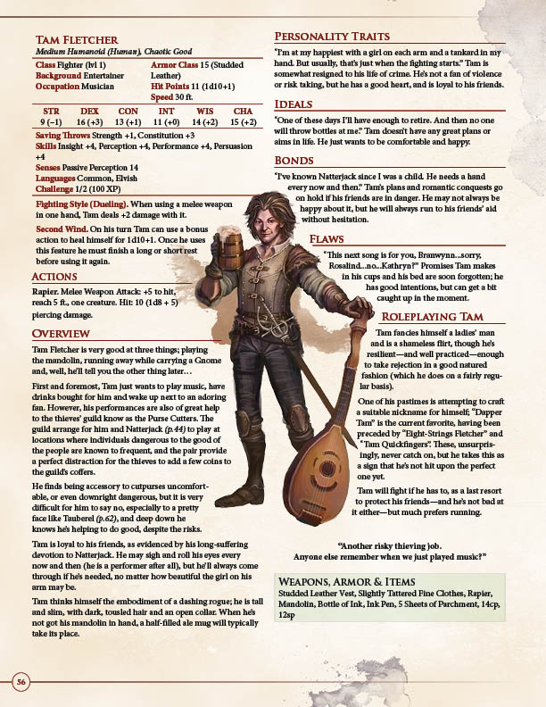 Tam Fletcher: A Mandolin Playing Fighter From ULTIMATE NPCS