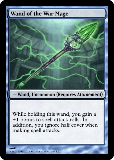 D D 5e Some Magic Item Cards I Made Dungeons Dragons Dragonlance Pathfinder The description of the wand of the war mage, +1 (which requires attunement by a spellcaster) says: d d 5e some magic item cards i made