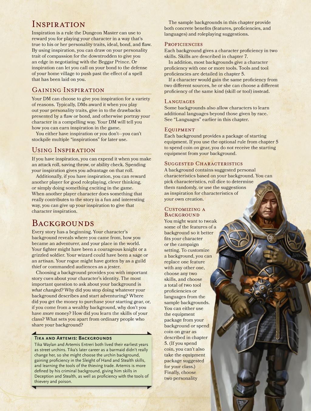Player's Handbook Backgrounds (D&D 5E)