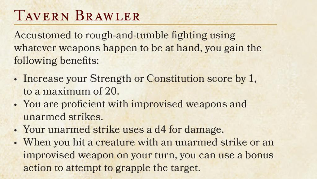 5E PH(B) Tavern Brawler Feat
