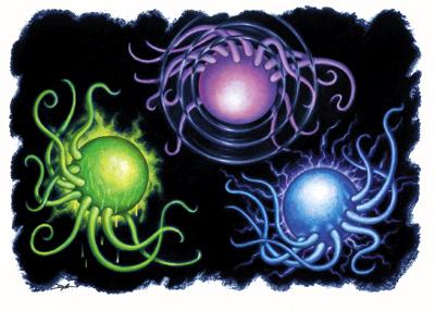 energon Xac-yij (verde), Xong-yong (rosa), Xap-yaup (blu) - by D. Martin Atlante Planare - Guida del giocatore ai piani (2007) © Wizards of the Coast e 25 edition
