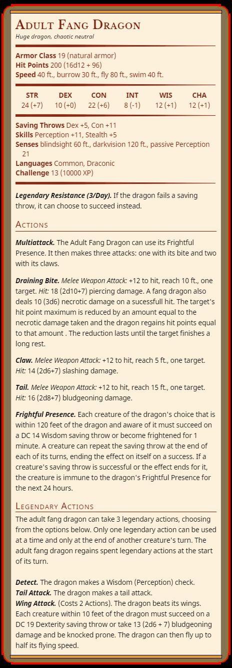 5E 5e Fang dragon - Draining Bite ability