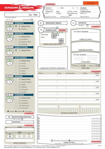 Dnd 5ed Auto Calculating Fillable Character Sheet Based On Dragon S Lair Design Morrus Unofficial Tabletop Rpg News
