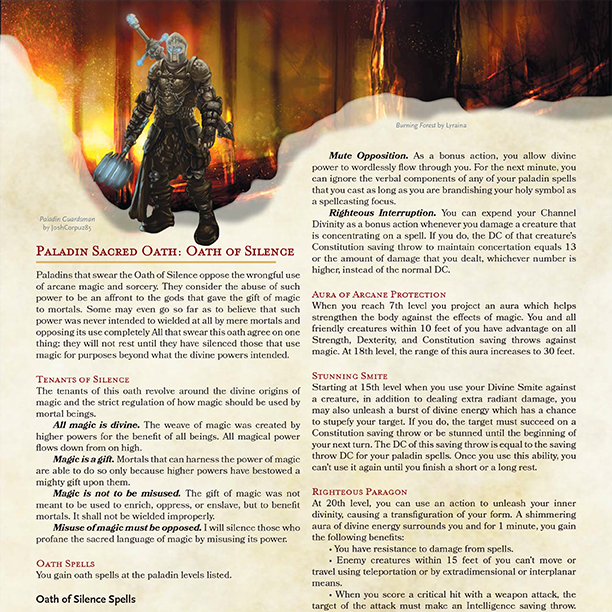5E Paladin: Oath of Silence   Morrus' Unofficial Tabletop RPG News